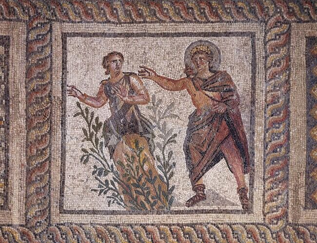 Mosaic pavement with Apollo and Daphne.