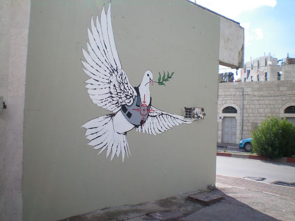 Banksy city guide 2021: Banksy, Armored Dove, around 2007