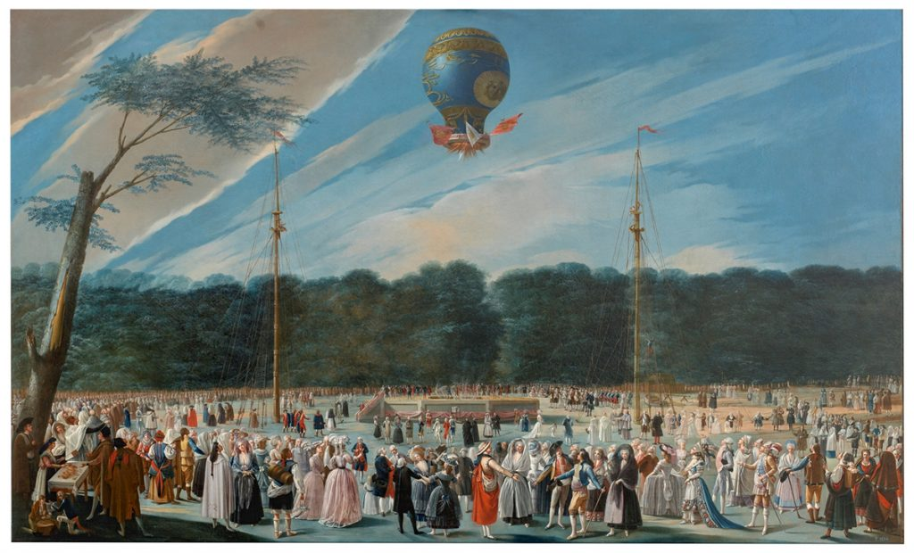 Flying Objects in Art: Ascent of a Montgolfier Balloon at Aranjuez by Antonio Carnicero