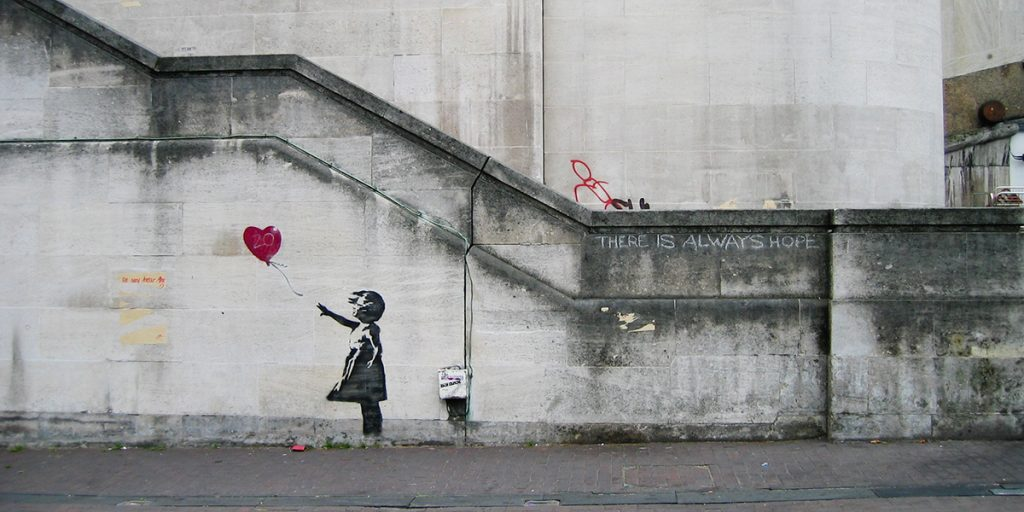 Flying Objects in Art: Girl with Balloon by Bansky