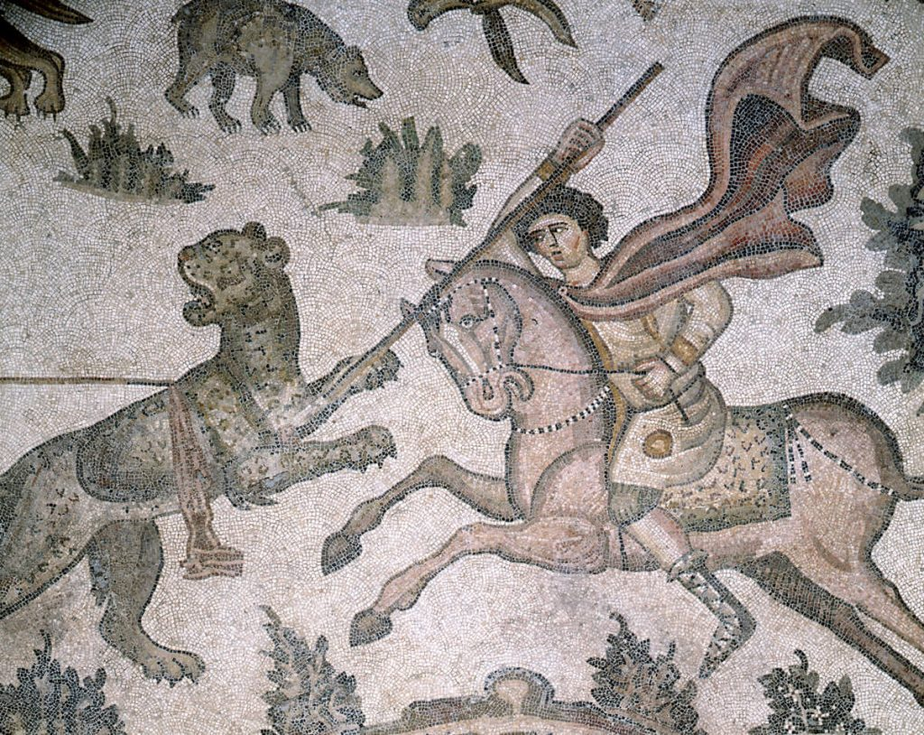 Detail on Worcester Hunt Floor Mosaic, early 500s,