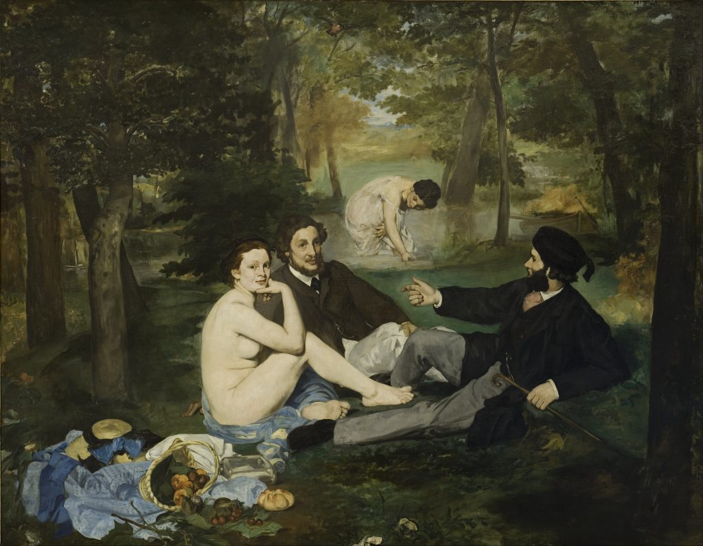 Edouard Manet, Luncheon on the Grass, 1863, Orsay museum three people are have a luncheon in a wood, there are two men who are dressed and a woman who is naked and looks at the spectator. A second woman is in the back, drawing water.