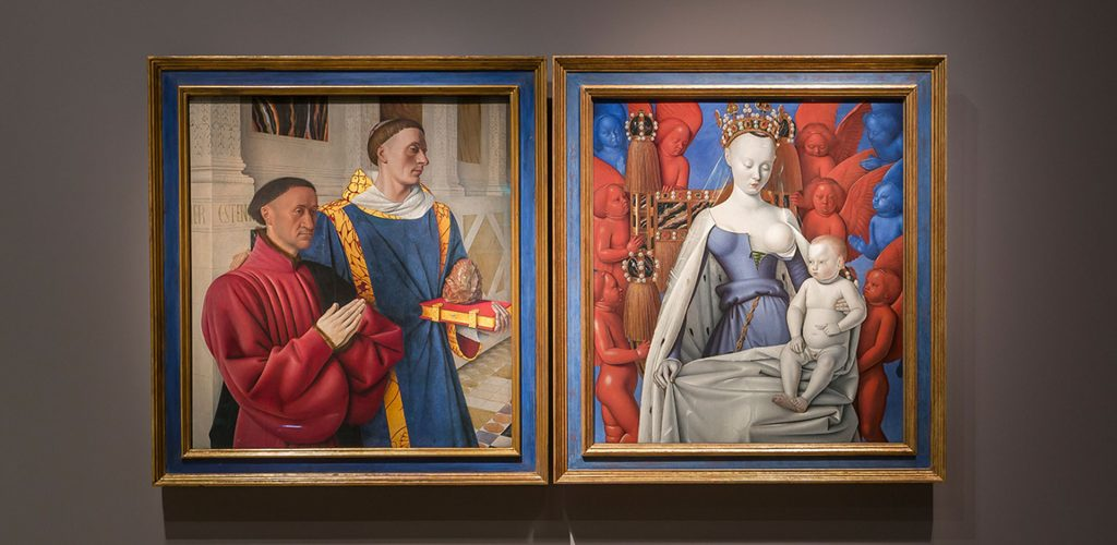 The Top 10 Strange and Bizarre Paintings: Jean Fouquet's Melun Diptych showing the patron and his saint on the left accompanied by a rather unorthodox depiction of the Virgin Mary.