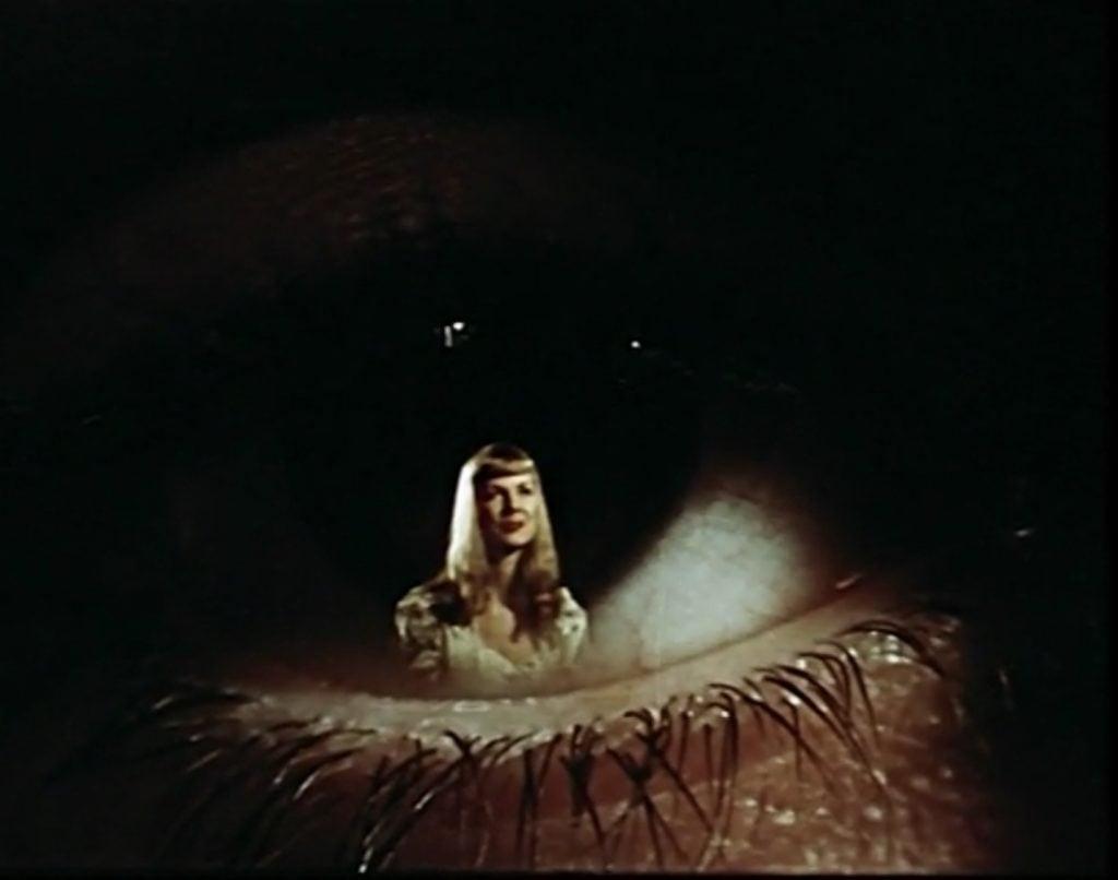 A girl in Joe's eye, scene from Dreams that money can buy movie, 1947.