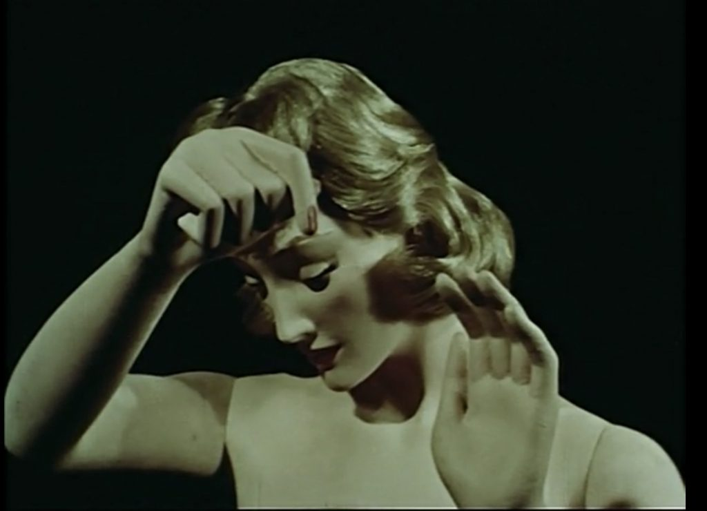 """Female mannequin with wig, """"Girl with Prefabricated Heart"""" scene from Dreams that money can buy, 1947."""