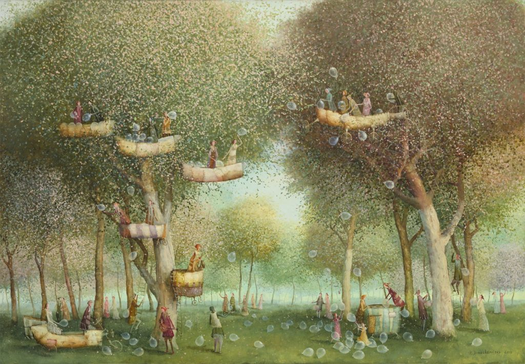 Flying Objects in Art: Garden with Balloons by Remigijus Januskevicius