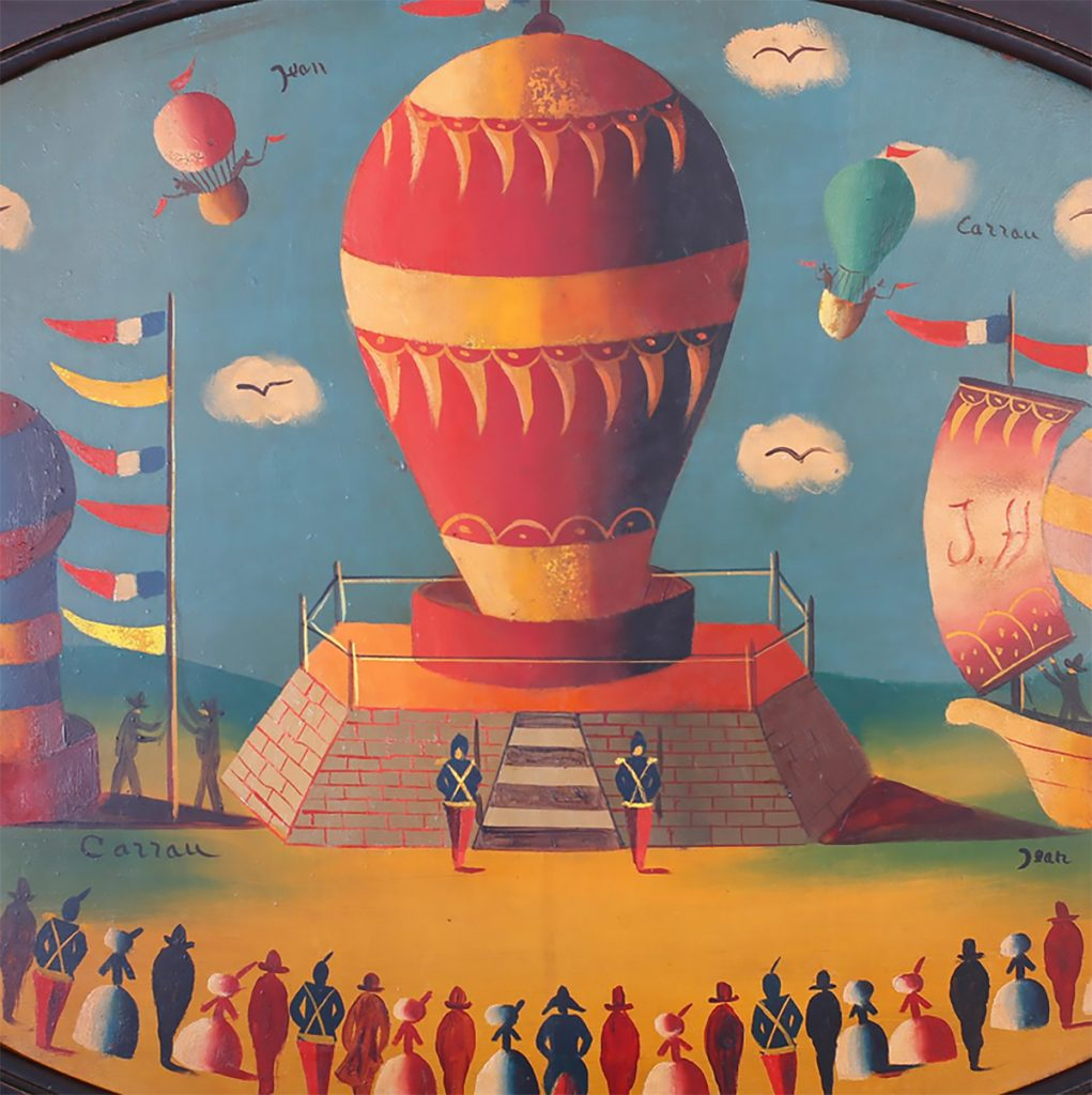 Flying Objects in Art: The painted lid of a balloon tin by Jean Carrau