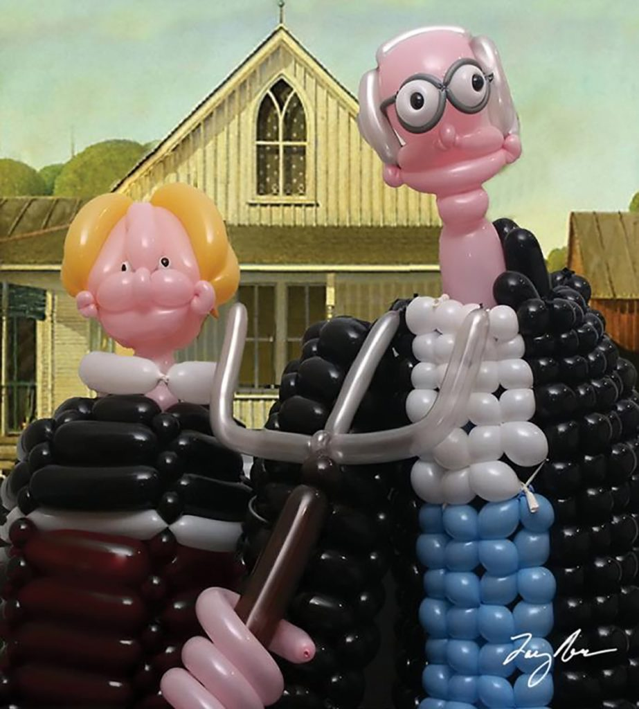 Flying Objects in Art: American Gothic by Larry Moss