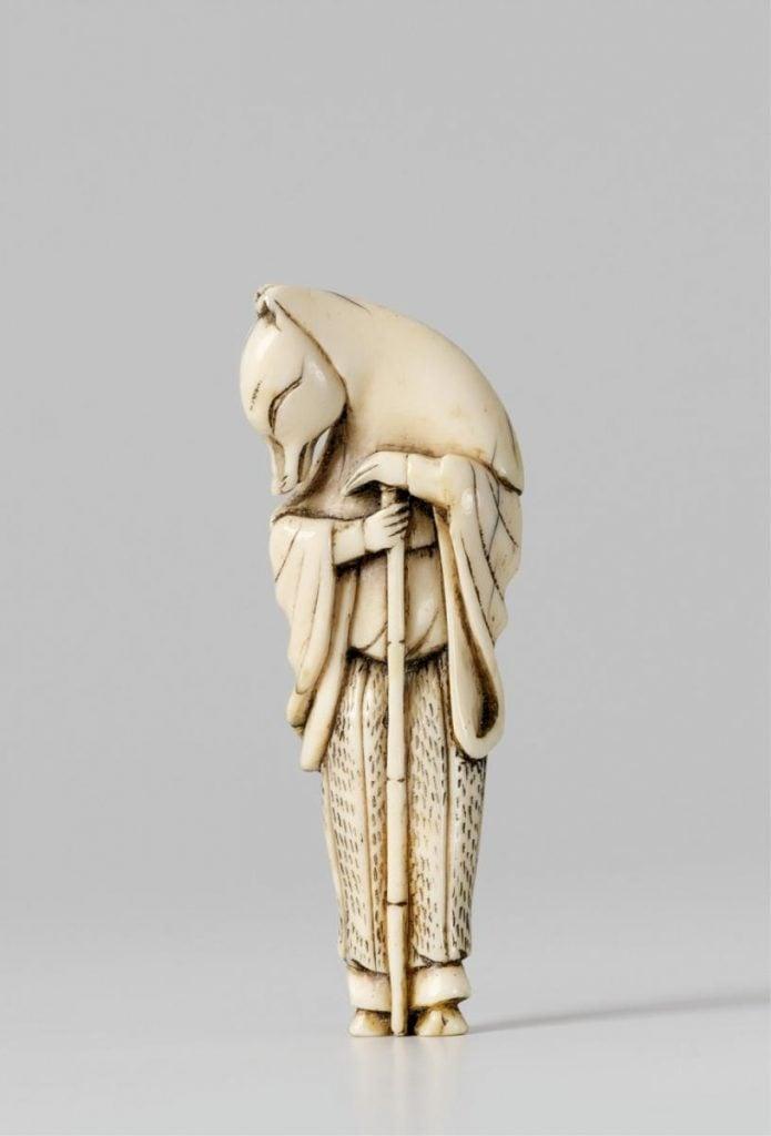 An ivory netsuke of Hakusozu, the fox who has changed into a priest