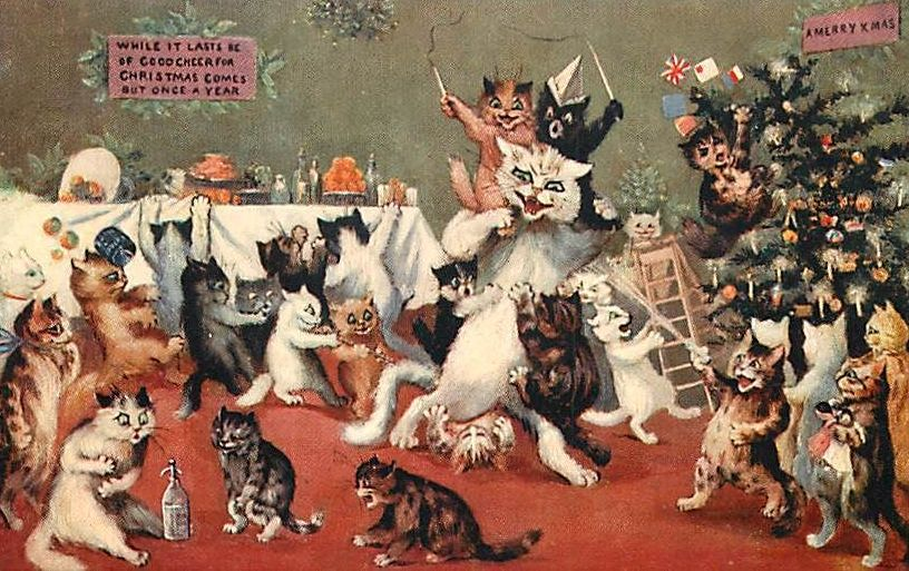 Louis Wain, illustration from Kitten's Christmas Party, 1886, Illustrated London News,