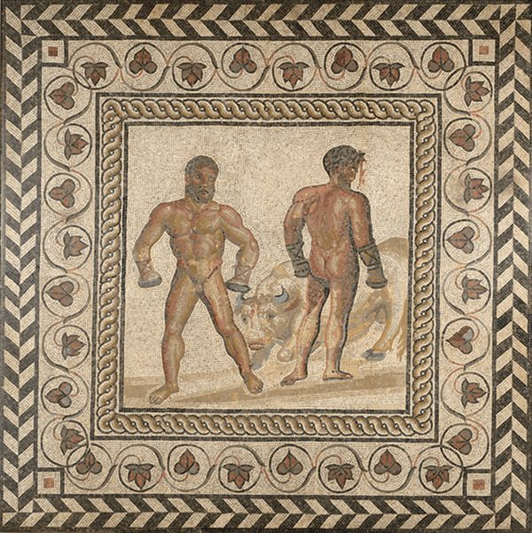 Mosaic Floor with a Boxing Scene, 175 CE, stone and glass tesserae