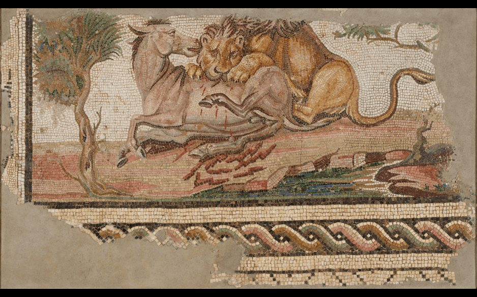 Mosaic of a Lion Attacking an Onager,