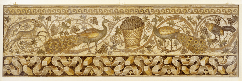 Mosaic of a Vine Scroll Border with Peacocks, 526–540 CE, marble and limestone tesserae embedded in lime mortar,