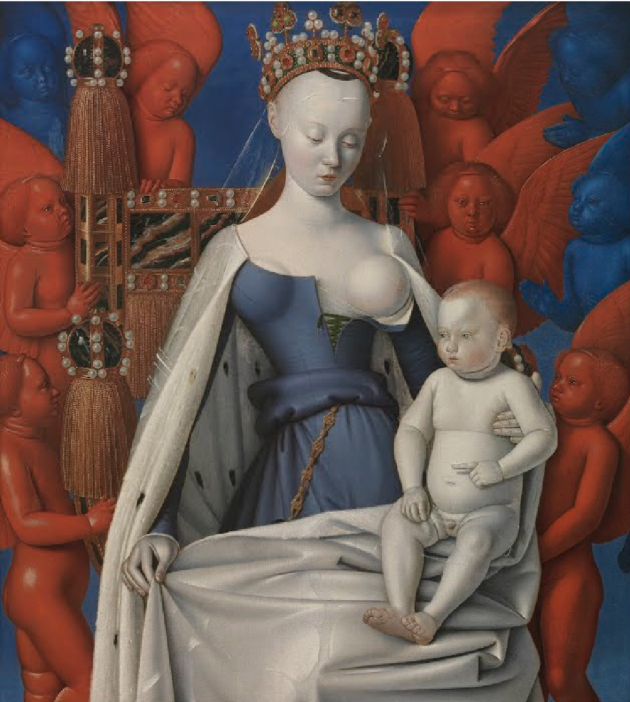 Image of right panel of Melun Diptych, showing the Virgin Mary with her breast exposed.