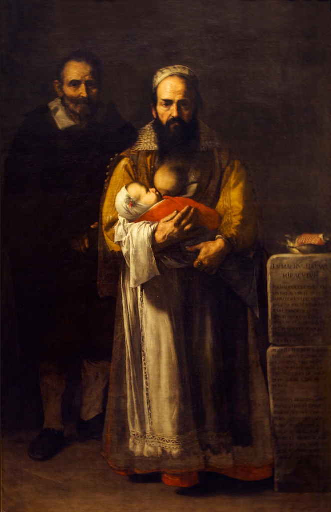 Top Ten Weird and Bizarre Paintings: Ribera's portrait depicting The Bearded Woman, Magdalena Ventura, breastfeeding her son.
