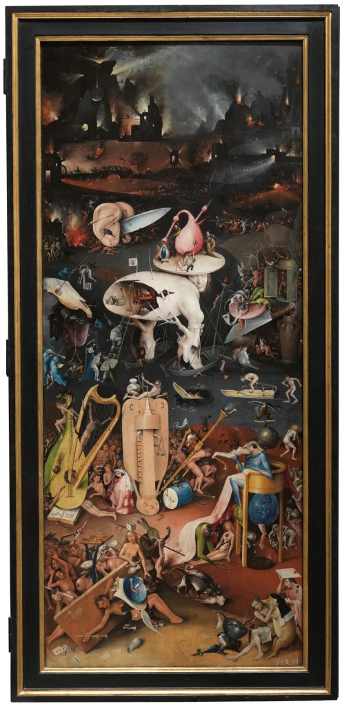 Photo of the right panel of Bosch's Garden of Earthly Delights showing the horrors of hell.