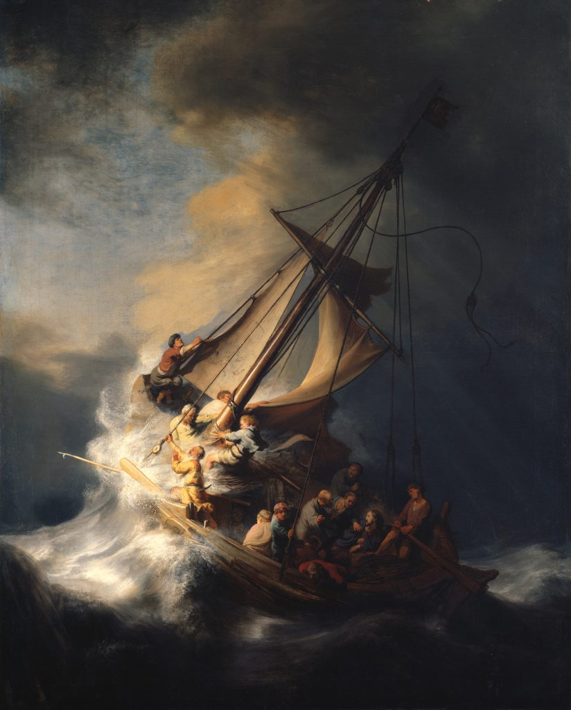 biggest art theft Rembrandt van Rijn, Christ in the Storm on the Sea of Galilee, 1633, oil on canvas, unknown location. Isabella Stewart Gardner Museum.