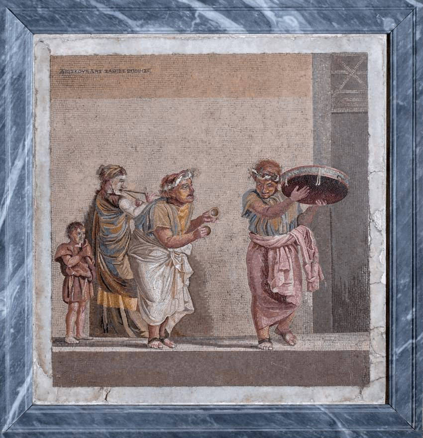 Roman floor mosaics: Travelling Musicians, date unknown, Museo Archeologico Nazionale di Napoli, Naples, Italy.