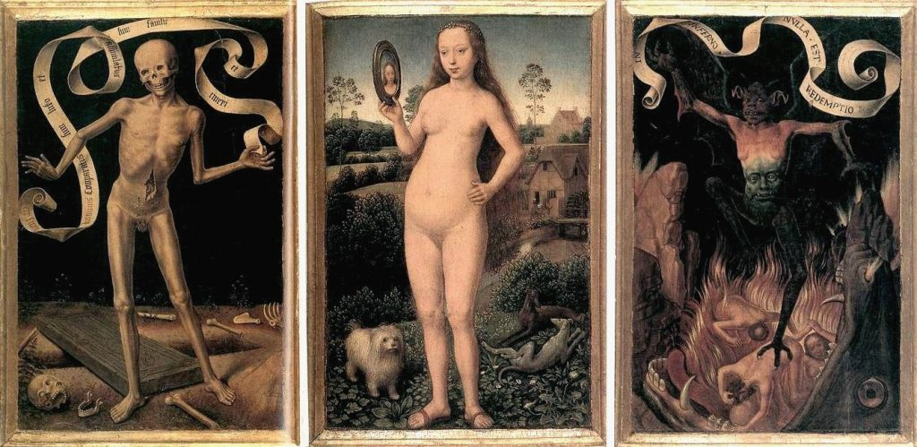 Hans Memling, The Triptych of Earthly Vanity and Divine Salvation, c. 1485, oil on oak panels, Musée des Beaux-Arts, Strasbourg, France. Wikimedia Commons.