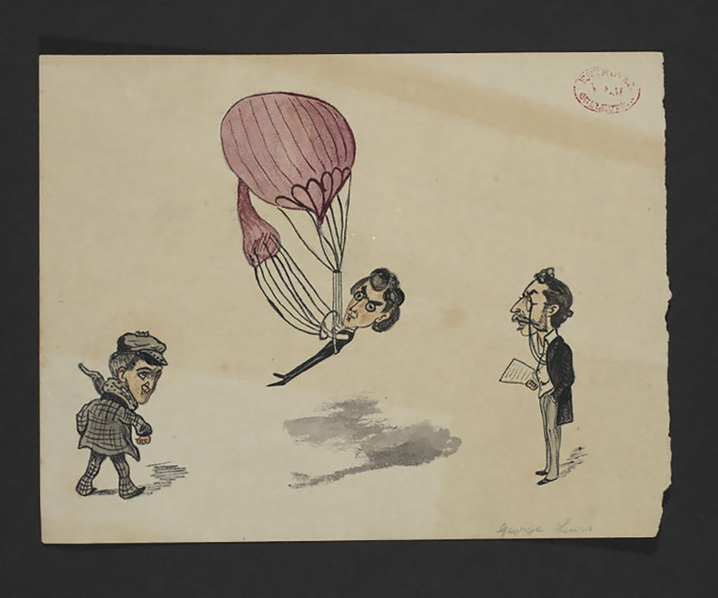 Flying Objects in Art: Victorian caricature of an early balloon flight attempt George Lewis