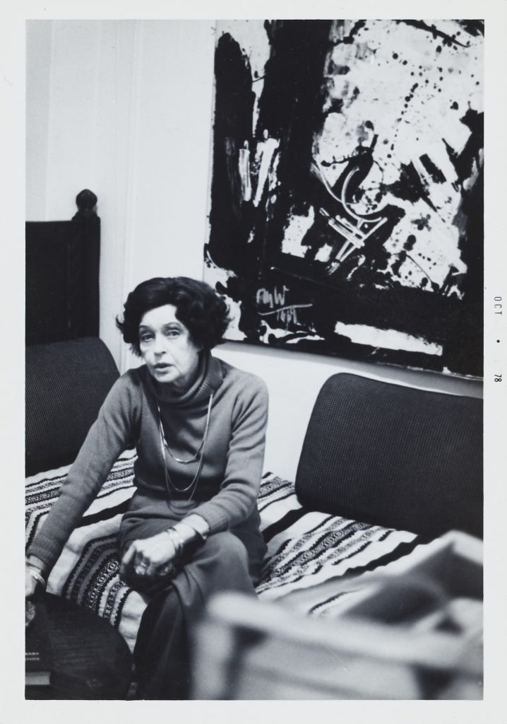 Corinne Michael West in her apartment