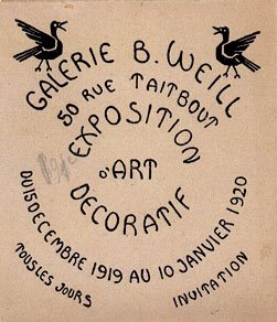 Berthe Weill; Invitation for the B. Weill Gallery, 1920, private collection. ©judaisme.sdv.fr The name of the gallery, the name and date of the exhibition are written in a circular manner. Two birds are depicted at the top.
