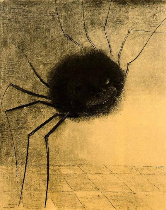 10 Most Scary Paintings: Odilon Redon, The Smiling Spider. A tarantula-like spider of gigantic proportions has eyes and a mischievous smile. The artist creates a hybrid being, humanizing the bug by looking for monstrosity in an ironic and morbid way.