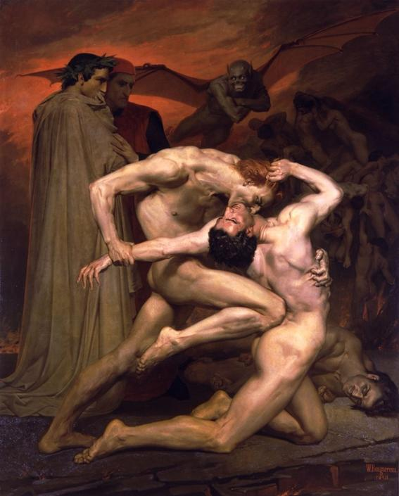 """10 Most Scary Paintings: William Adolphe Bouguereau, Dante and Virgil. In hell accompanied by his master Virgil, Dante advances through the third belt of the circle. The artist brought sinners to the fore by eating each other. His perspective is unusual and beautiful; it is hard to believe that there are defects in these bodies. Bouguereau portrayed human emotions in dynamics, beautiful anatomy and facial expressions. Dante and Virgil are outside observers. Bougreau placed them behind the scenes of violence. Dante's laurel wreath, his clothing and the shining garments of his companion, are all from the world of earth, pure and contrasted with the mud of hell. To give the plot a """"hellish"""" mood, the author drew a gray demon with a red glow flying behind Dante and virgil with a smile of satisfaction"""