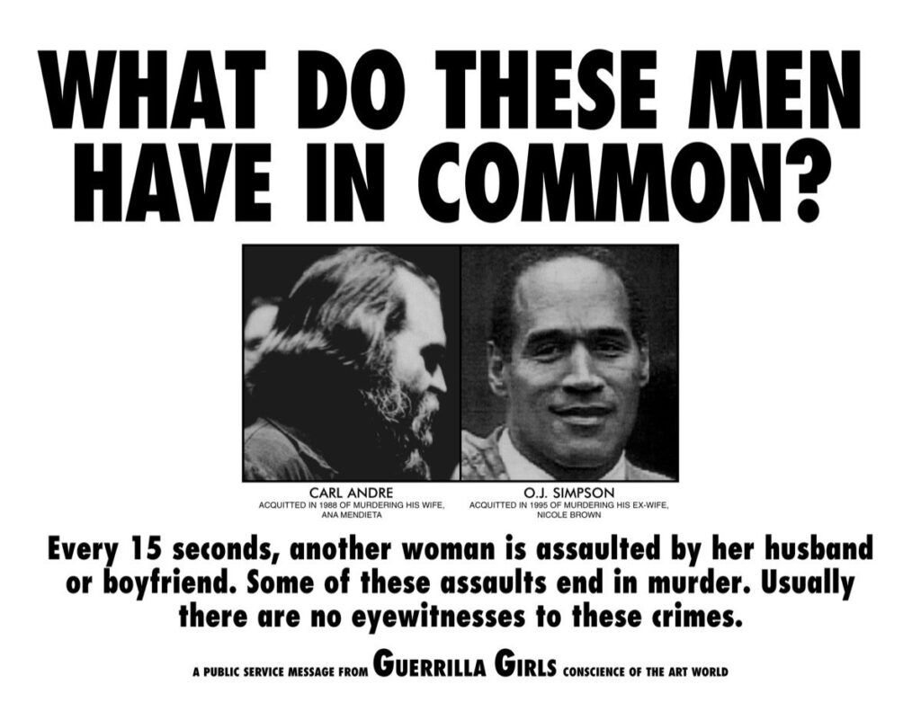 where is ana mendieta, what do these men have in common - guerilla girls poster
