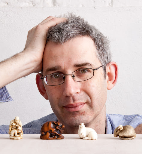 Edmund de Waal, author pictured in his South London Studio with his Netsuke which were featured in his Costa Prize 2010 winning book, The Hare with Amber Eyes.