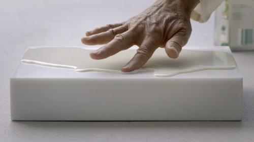 Wolfgang Laib, detail of a Milk Stone piece