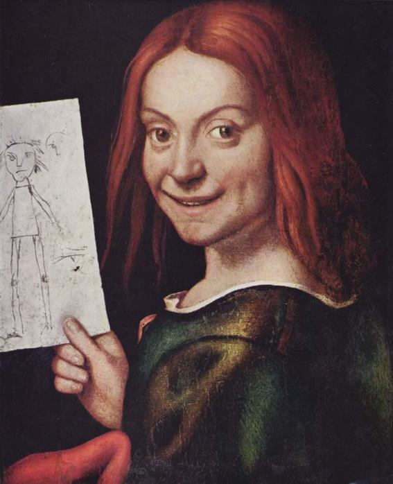 10 Most Scary Paintings: Giovanni Francesco, Child with a drawing. a boy with long red hair dressed as a woman, shows with his right hand a child's drawing that reflects a person. His look and disconcerting smile, looks like a fake smile and makes this work chilling and scary