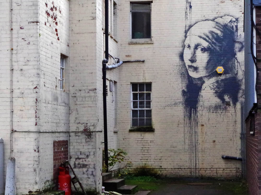 Banksy city guide 2021: Banksy, Girl with the Pierced Eardrum, 2014
