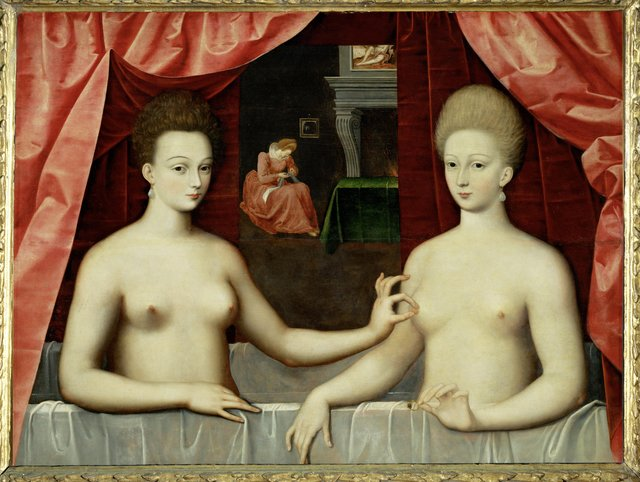 Top 10 Strange and Bizarre Paintings: An image from the French, showing two sisters in a bathtub making a seemingly erotic gesture.