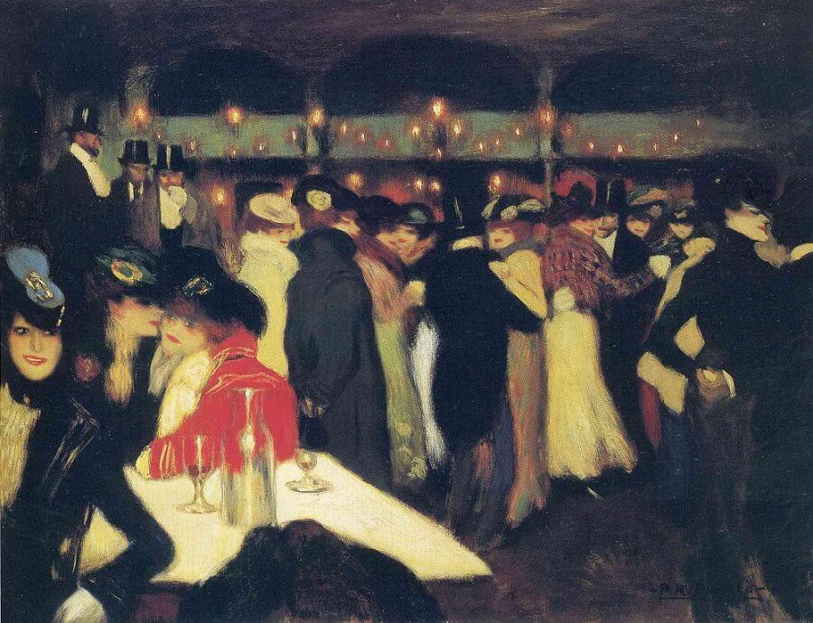 Pablo Picasso, Le Moulin de la Galette, 1900, Guggenheim museum, Bilbao painting of a party at night, people are dancing or sitting at a table; Berthe Weill
