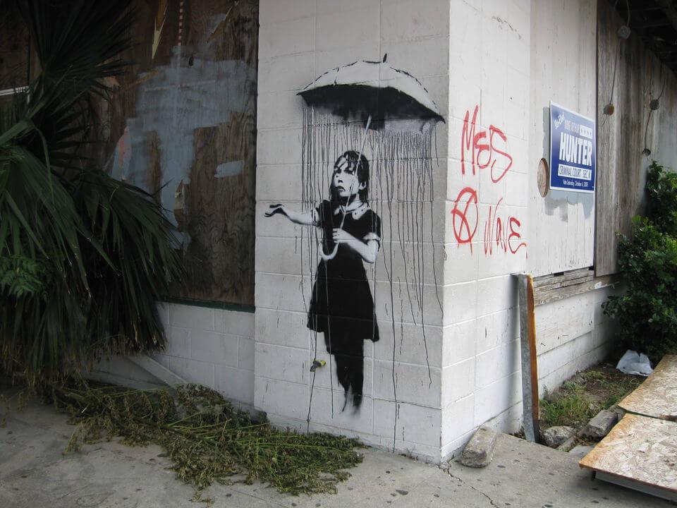 Banksy city guide 2021: Banksy, Nola or Girl with Umbrella, 2008
