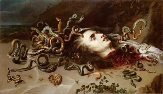 Peter Paul Rubens, Medusa. Medusa's head on the ground after her throat was cut. Eyes open while all sorts of creatures come out of the freshly amputated head: snakes, insects, worms, arachnids, reptiles... Even a friendly salamander and a deadly scorpion.