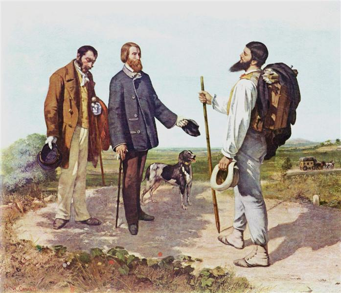 Dog Breeds in Famous Paintings: Gustave Courbet, The meeting or Bonjour Monsieur Coubert