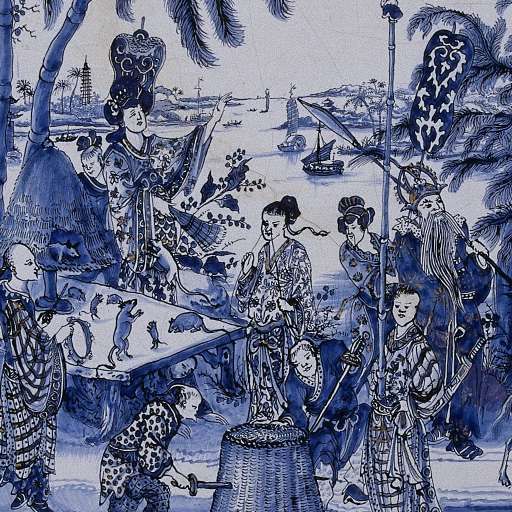 Plaque with a chinoiserie landscape, unknown artist, c. 1680, Rijksmuseum, Amsterdam, Netherlands. Detail. Delftware.