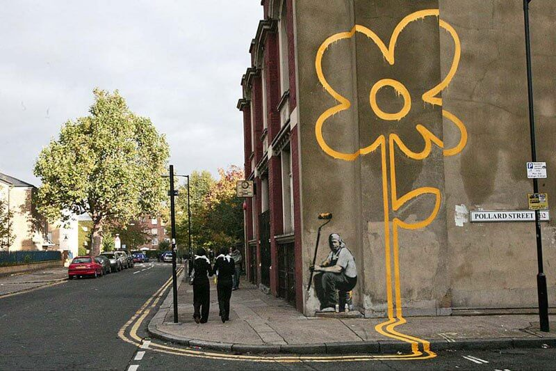 Banksy city guide 2021: Banks, yellow Lines Flower Painter, 2007