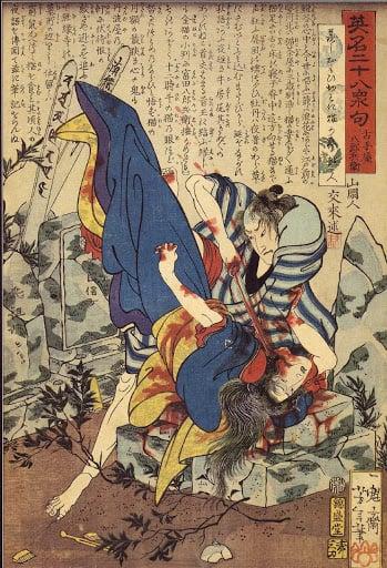 Tsukioka Yshitoshi, Furuteya Hachirōbei murdering a woman in a graveyard, nº9, Eimei nijūhasshūku (英名 二十八 衆句 - 28 Famous Murders with Verse, 1867, Japan Muzan-e