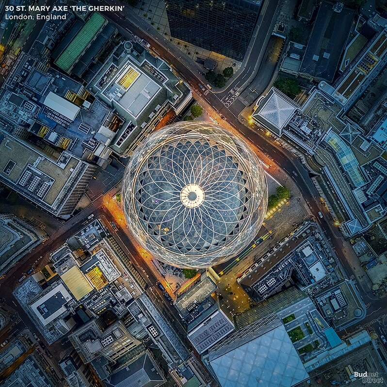 The Gherkin, 30 St Mary Axe, London, UK, High in the sky, aerial view, Budget Direct, aerial image