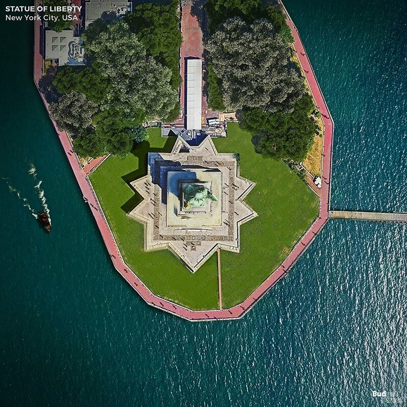 view from above, the statue of Liberty, New York City, Budget Direct