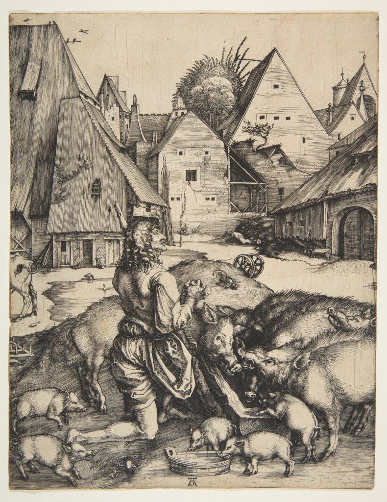 The Prodigal Son, Albrecht Dürer, engraving, The Prodigal feeds the swine and has a spiritual awakening where he decides he will return to his father
