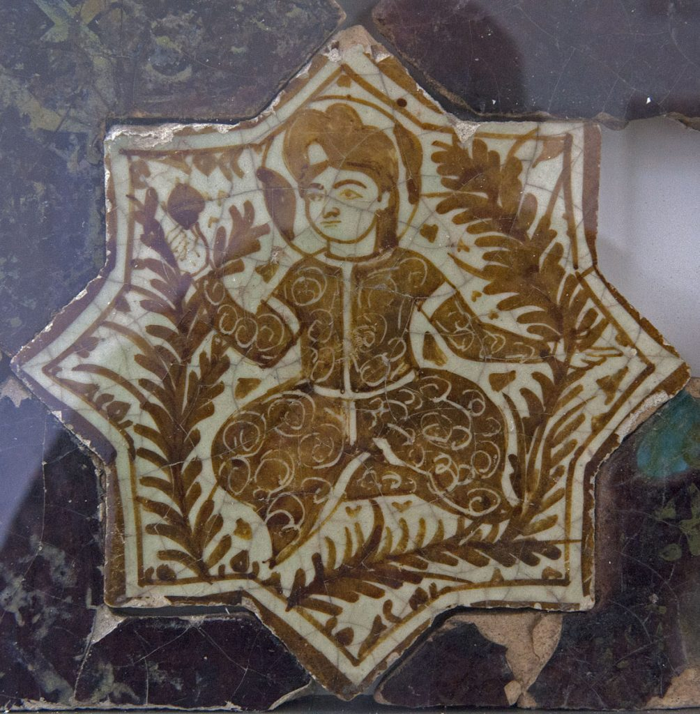 Ceramic tile art with over glaze technique from Kubad-Abad Palace, Beyşehir, Turkey.