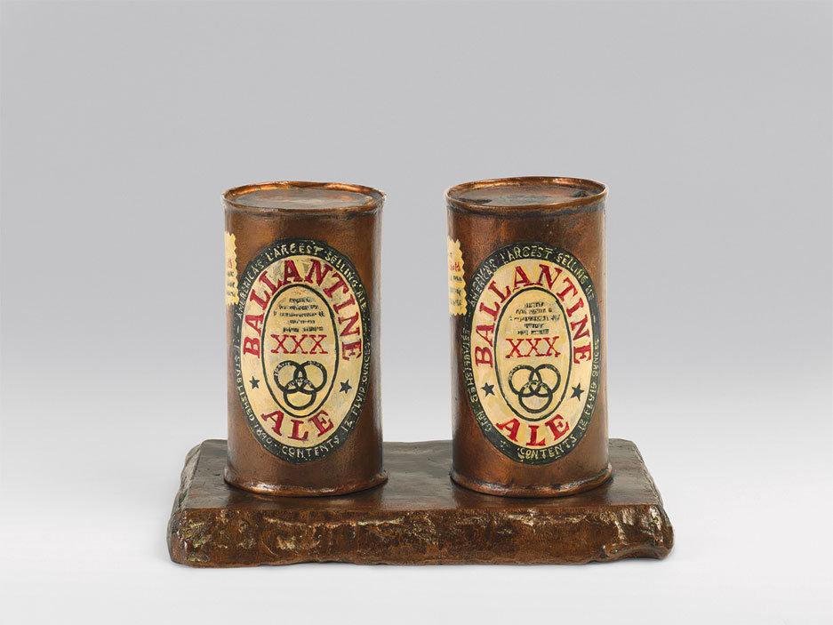 Pop Art 101. Jasper Jones, Painted Bronze: Ale Cans, 1960, bronze and oil paint, Collection of the artist. New York Times.