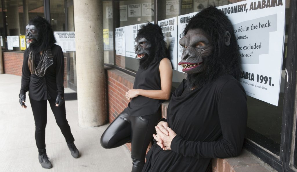 """Guerrilla Girls artists Kathe Kollwitz, Zubeida Agha and Frida Kahlo during a press preview for an exhibition of works by the Guerrilla Girls titled """"Not Ready To Make Nice: 30 Years And Still Counting,"""" at the Abrams Art Center, 466 Grand St, New York, NY on Thursday, April 30, 2015. Photograph by Andrew Hinderaker, Photo © Andrew Hinderaker"""