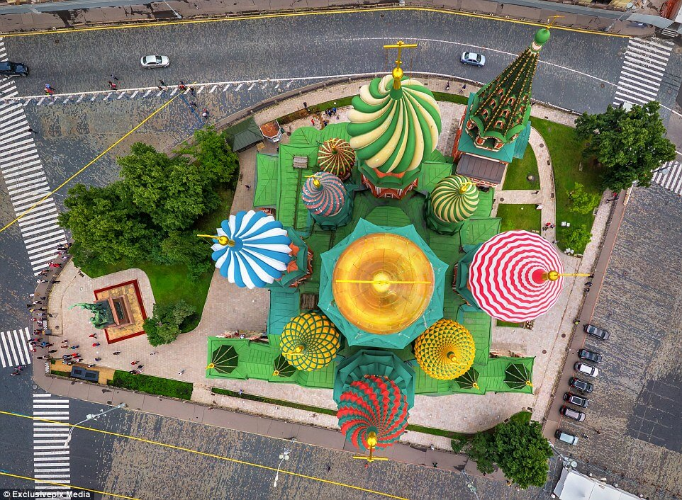 St. Basil's Cathedral, Moscow, Russia, view from above