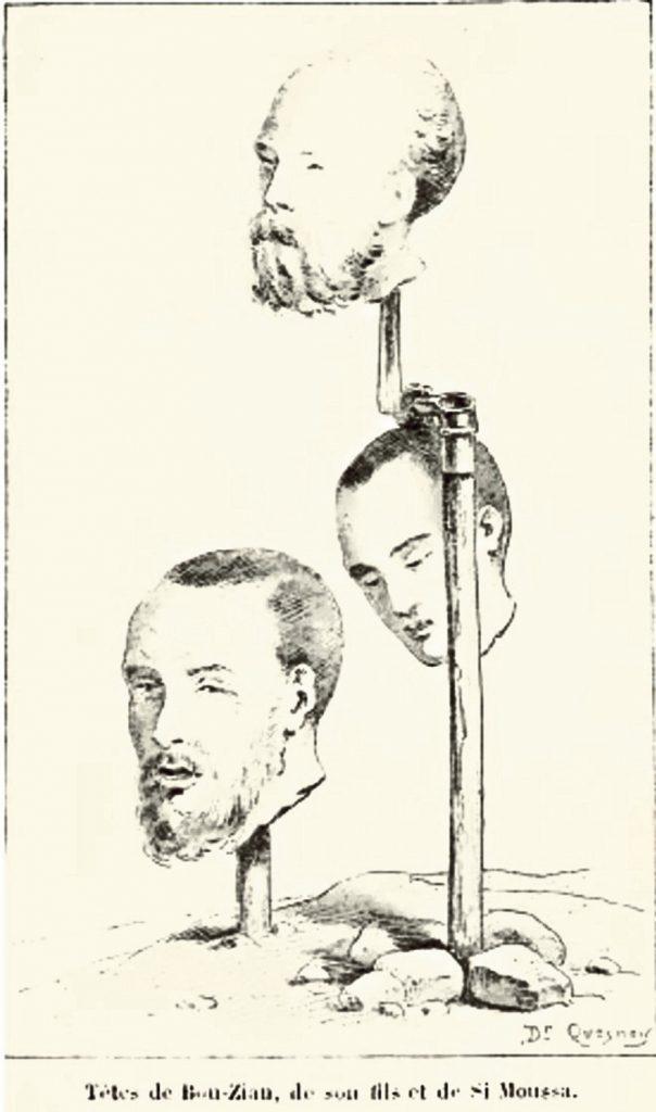 Dr.F.Quesnoy, Drawing portraying decapitated heads of Algerian resistance fighters, 1888,  L'Armée d'Afrique depuis la conquête d'Alger