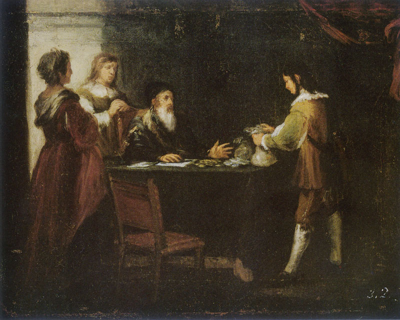 The Prodigal Son by Murillo. A boy is asked his father for his share of the inheritance, and the father is handing it to him. Dressed in 17th century Sevillian costume